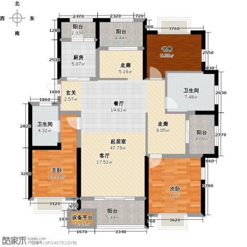 盐城金辉城3室0厅2卫1厨138.00㎡户型图