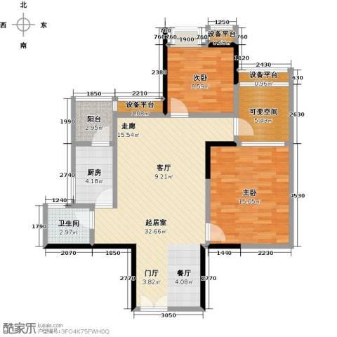 东湖尚�2室0厅1卫1厨85.00㎡户型图