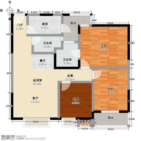 东湖尚�3室0厅2卫1厨97.00㎡户型图