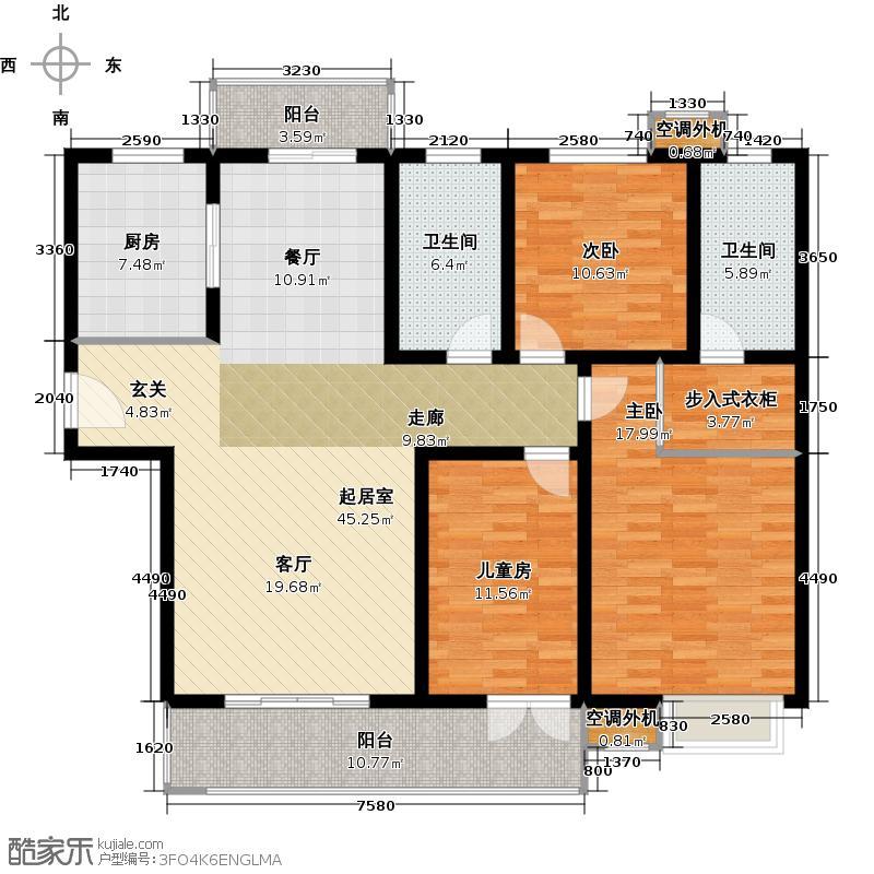 路劲主场142.00㎡尊享户型3室2厅2卫户型3室2厅2卫