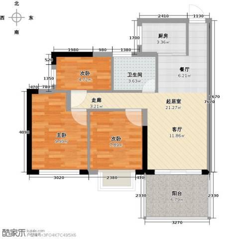 山林君悦3室0厅1卫1厨82.00㎡户型图