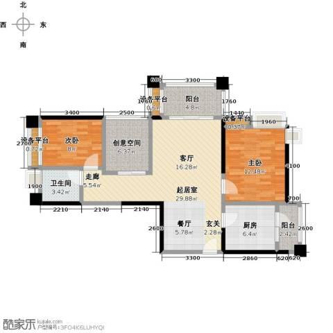 保利香槟国际2室0厅1卫1厨94.00㎡户型图