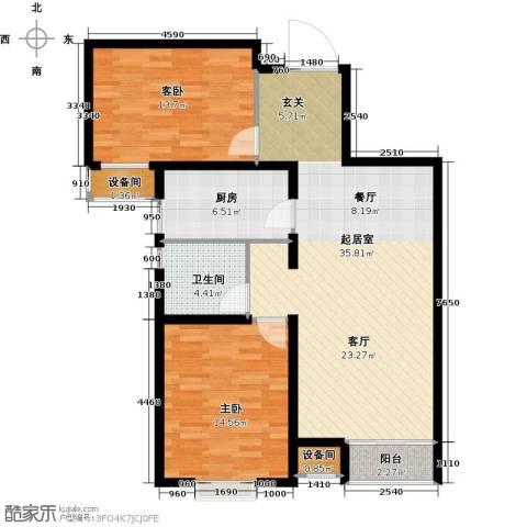 塞纳世家2室0厅1卫1厨92.00㎡户型图