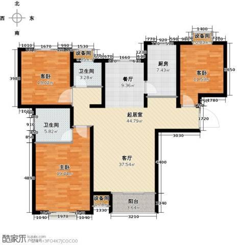 塞纳世家3室0厅2卫1厨128.00㎡户型图