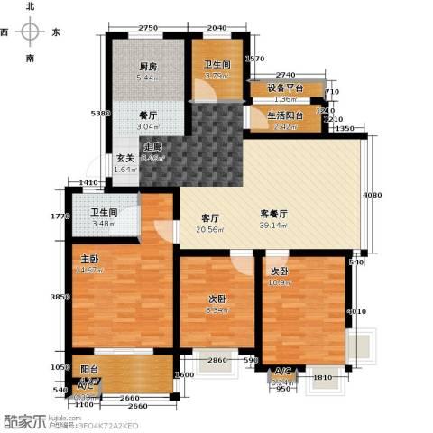 世纪绿城3室1厅2卫0厨103.00㎡户型图
