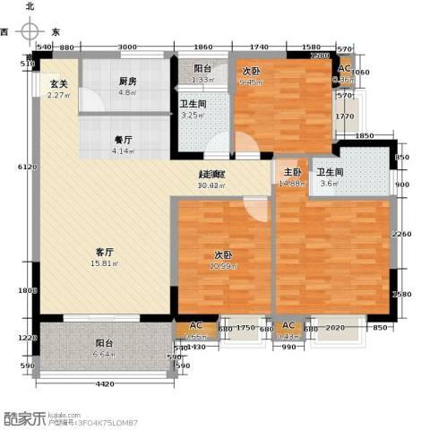 七彩城3室0厅2卫1厨102.00㎡户型图