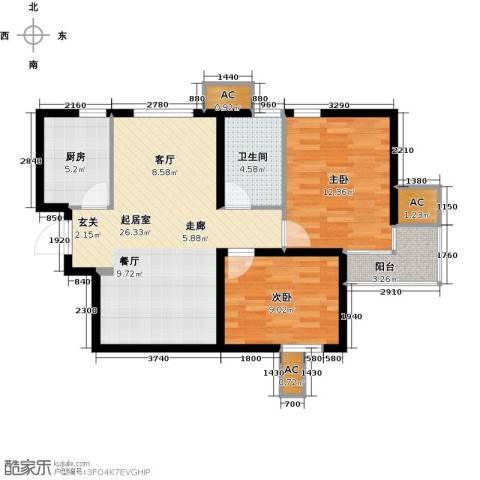 九号国际城2室0厅1卫1厨73.00㎡户型图