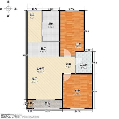 海航YOHO湾2室1厅1卫1厨87.00㎡户型图
