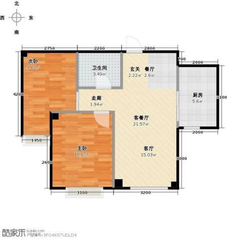 海天富地2室1厅1卫1厨65.00㎡户型图