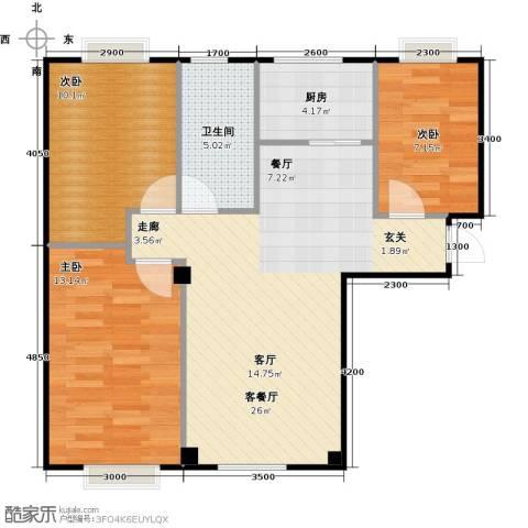 海天富地3室1厅1卫1厨87.00㎡户型图