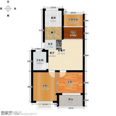 世纪绿城3室1厅1卫0厨66.00㎡户型图