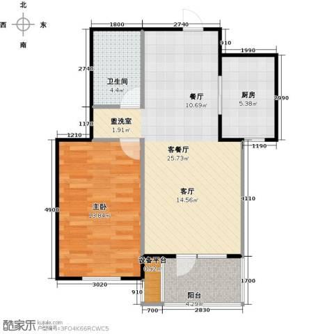 万达金石天成1室1厅1卫1厨60.00㎡户型图