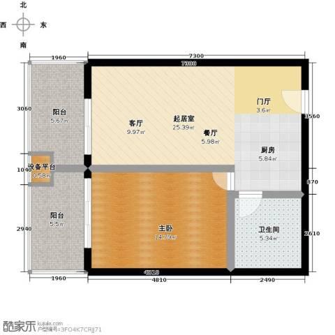 龙沐湾1号海景公馆1室0厅1卫0厨64.00㎡户型图