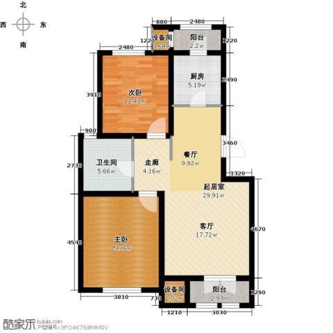 松江东湖小镇2室0厅1卫1厨107.00㎡户型图