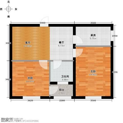 心悦购物广场2室1厅1卫1厨64.00㎡户型图