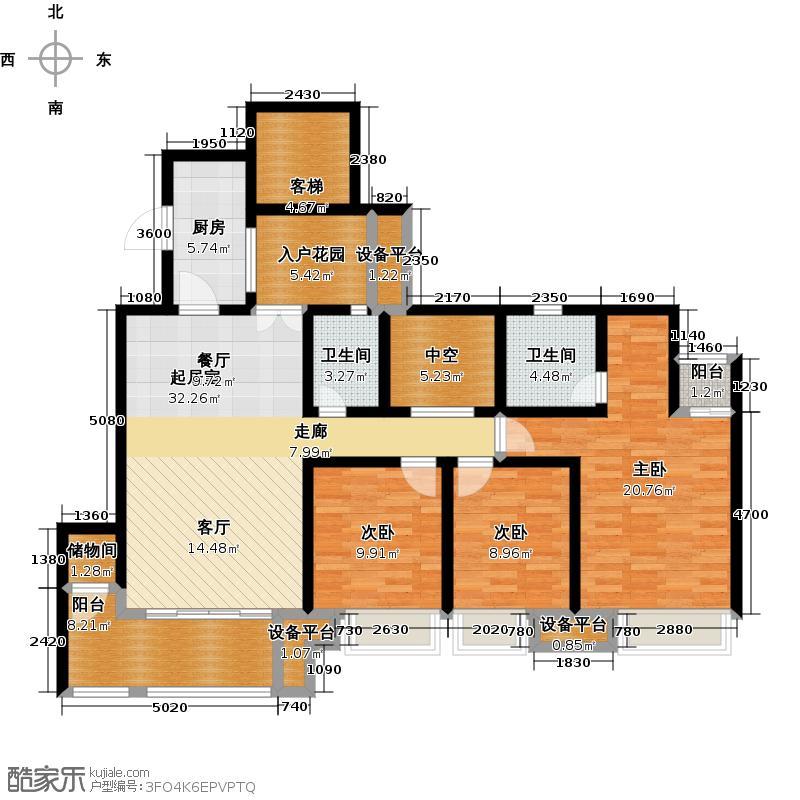鸥鹏壹�公�132.06㎡D1洋房,三室两厅双卫,套内约115.20平米户型2室2厅2卫