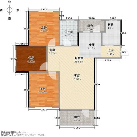 青国青城3室0厅1卫1厨88.00㎡户型图