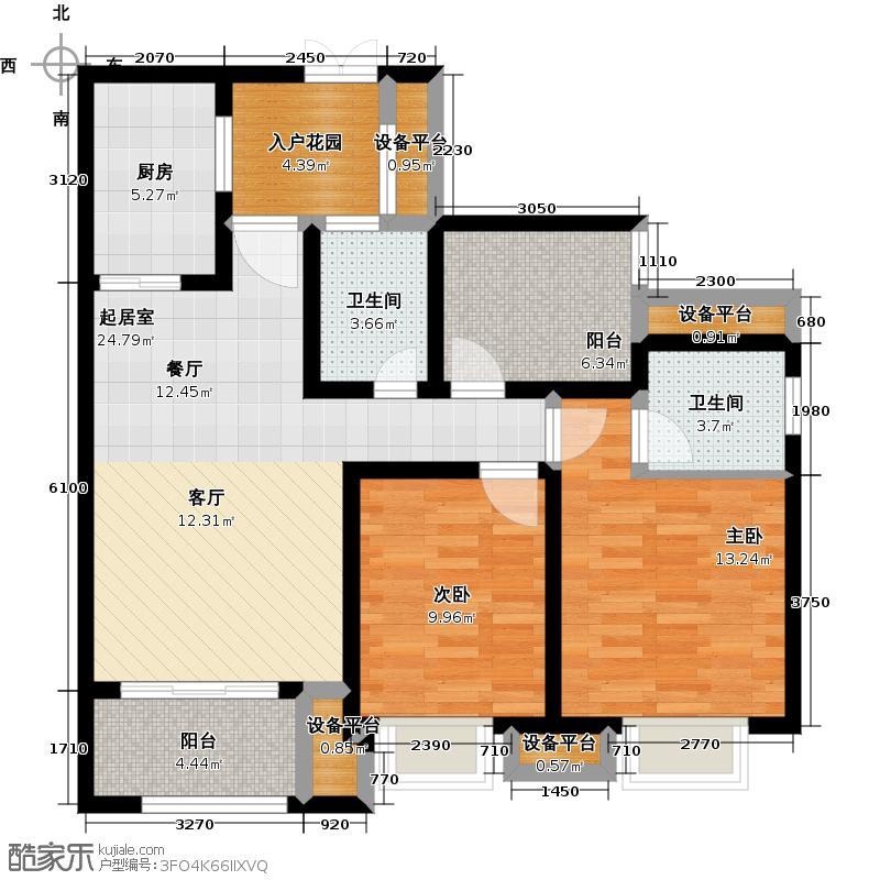 鸥鹏壹�公�96.86㎡A1高层,两室两厅双卫,套内约81.98平米户型2室2厅2卫