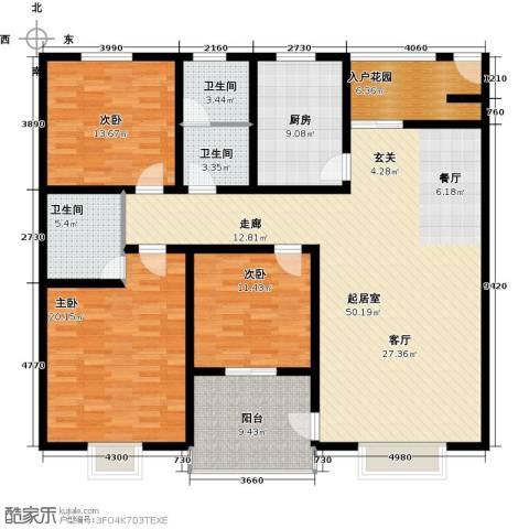格林春天3室0厅3卫1厨153.00㎡户型图