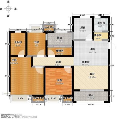 保利中央公园3室1厅2卫1厨125.00㎡户型图