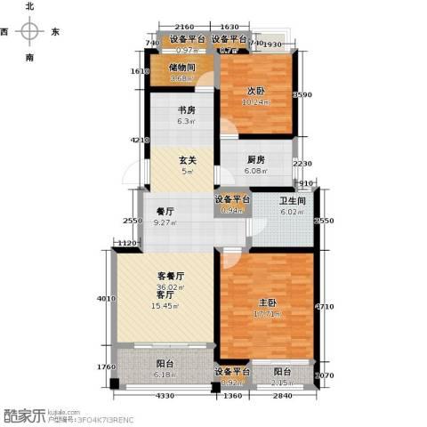 保利中央公园2室1厅1卫1厨105.00㎡户型图