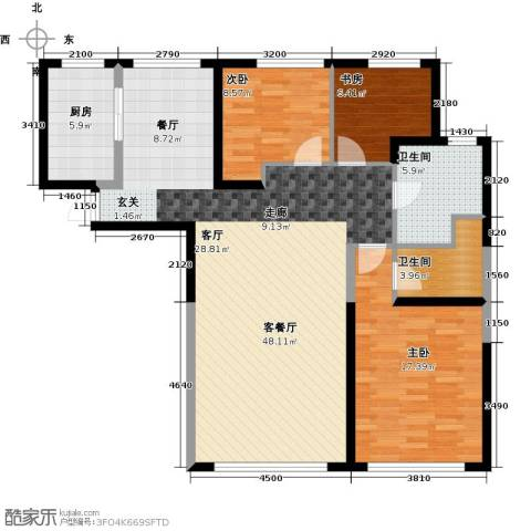 钻石9座3室1厅2卫1厨126.00㎡户型图