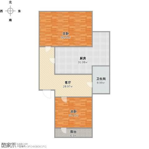 洪苑小区2室1厅1卫1厨176.00㎡户型图
