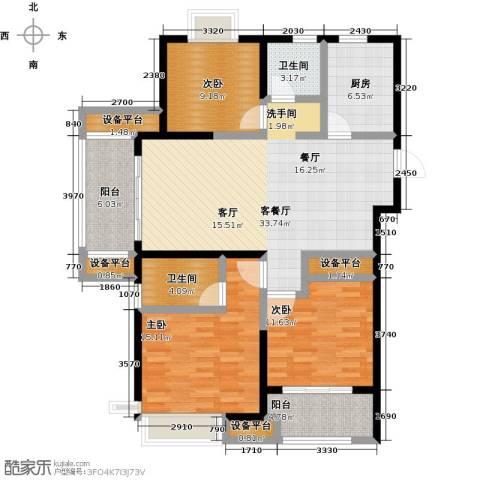 保利中央公园3室1厅2卫1厨115.00㎡户型图