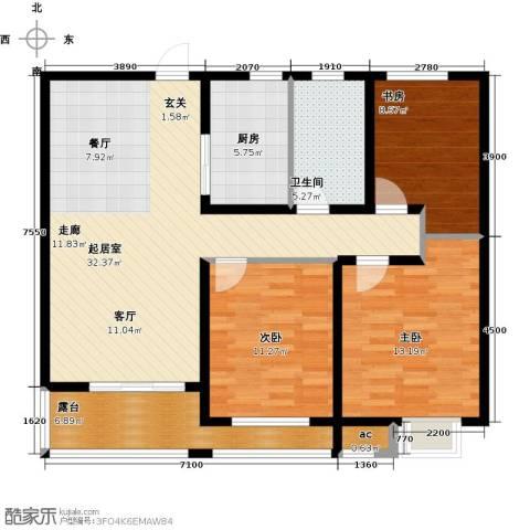 九龙仓时代上城二期繁华里3室0厅1卫1厨98.00㎡户型图