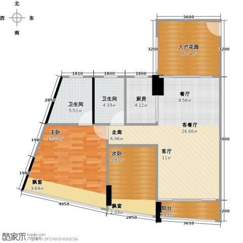 鸿洲・天玺2室1厅2卫1厨81.61㎡户型图