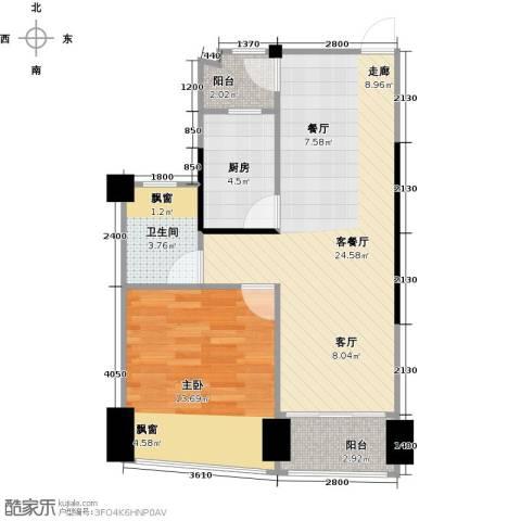 鸿洲・天玺1室1厅1卫1厨55.00㎡户型图