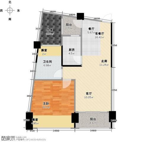 鸿洲・天玺1室1厅1卫1厨66.77㎡户型图