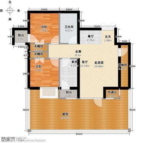 学府・未来城2室0厅1卫1厨124.00㎡户型图