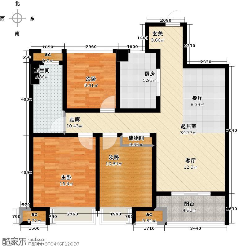 万科城103.00㎡C1户型 5#、6#、10#、19#、20#3室2厅1卫户型3室2厅1卫