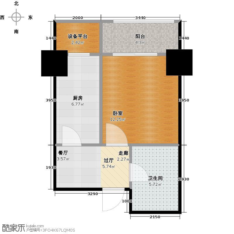 府上和平42.34㎡B3户型 一室一厅一卫户型1室1厅1卫
