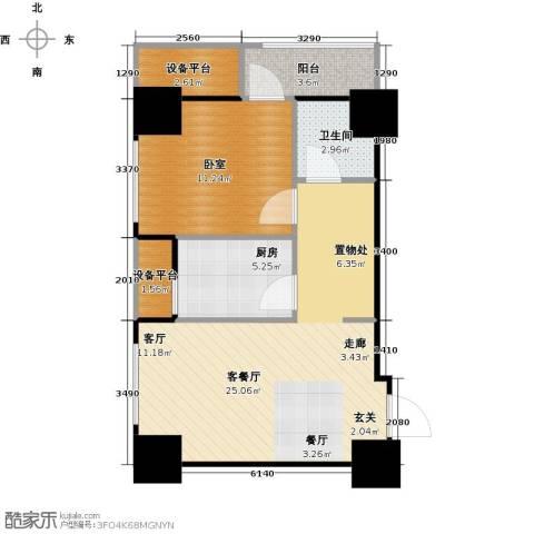 府上和平1厅1卫1厨61.00㎡户型图