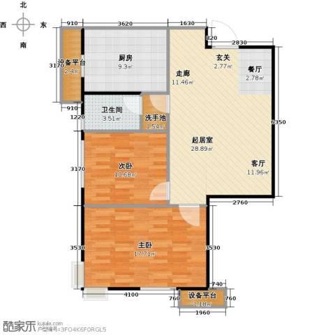 府上和平2室0厅1卫1厨79.00㎡户型图