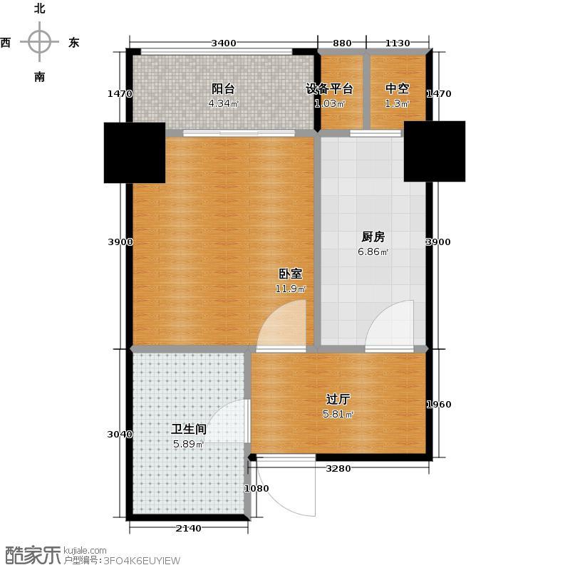 府上和平42.34㎡B3'户型 一室一厅一卫户型1室1厅1卫