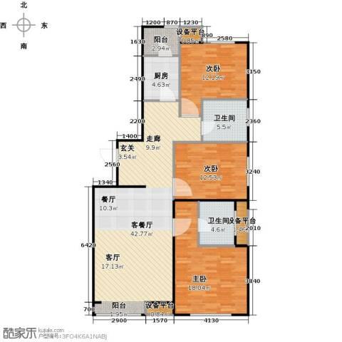弘泽鉴筑3室1厅2卫1厨114.00㎡户型图