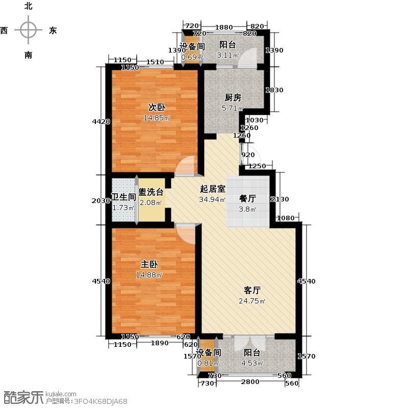 龙泽馨园102.40㎡D1户型2室2厅1卫