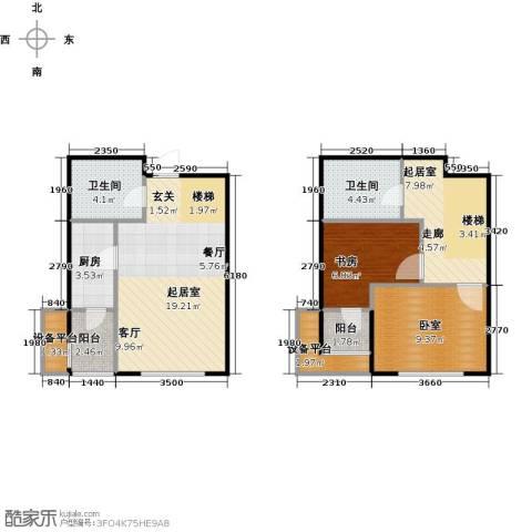 弘泽鉴筑1室0厅2卫1厨93.00㎡户型图