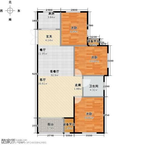 海航YOHO湾3室1厅1卫1厨109.00㎡户型图