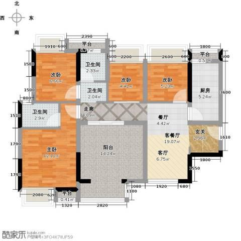 西湖怡景园4室1厅2卫1厨97.00㎡户型图