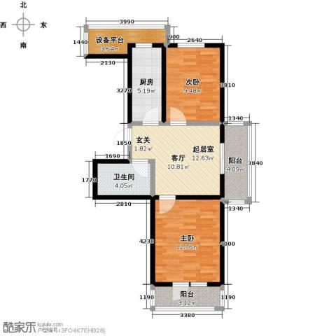 华新名筑2室0厅1卫1厨73.00㎡户型图