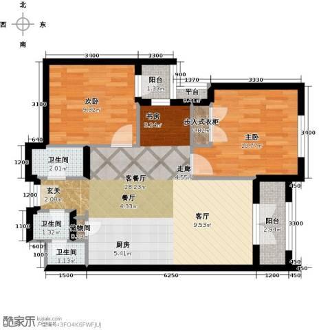 德嘉与海2室1厅3卫0厨84.00㎡户型图