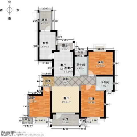 保利达江湾城3室1厅2卫1厨143.00㎡户型图