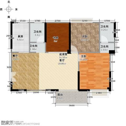 润恒国华瑞景3室0厅2卫1厨103.00㎡户型图