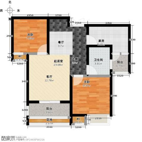 比克橄榄湾2室0厅1卫1厨81.00㎡户型图