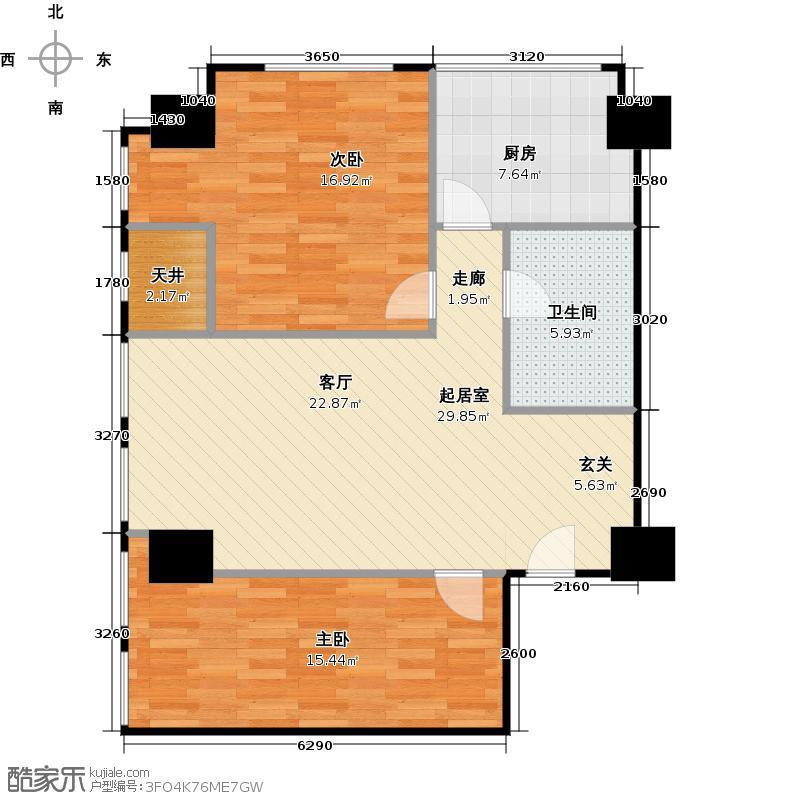 苏宁广场・雅悦89.59㎡A户型2室1厅1卫