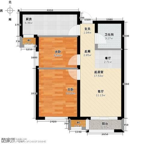 和泓四季恋城2室0厅1卫1厨68.00㎡户型图